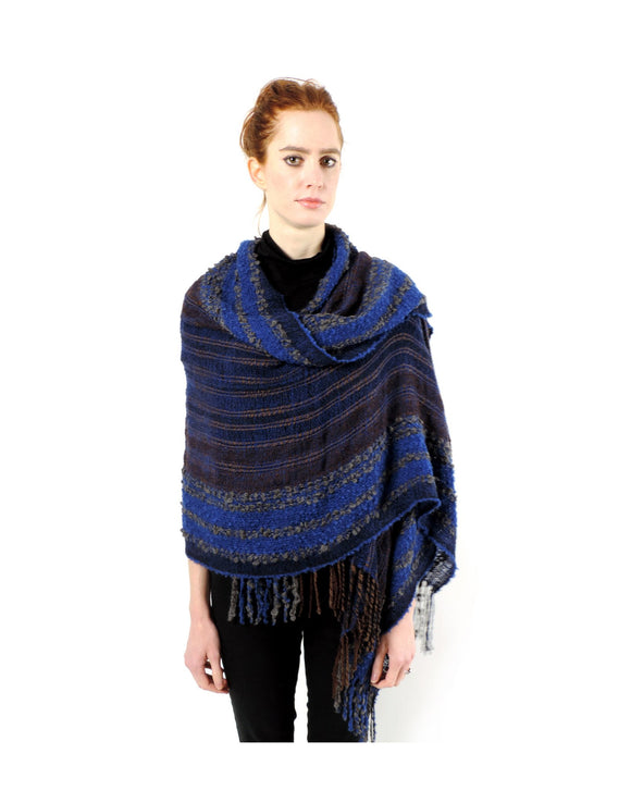 Hand-woven Baby Alpaca Boucle Fantasia Shawl - Blue Grey - Qinti - The Peruvian Shop