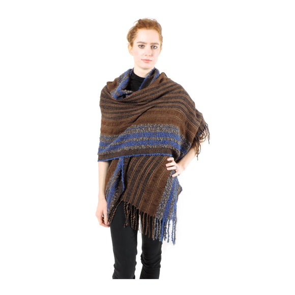 Hand-woven Baby Alpaca Boucle Fantasia Shawl - Blue brown - Qinti - The Peruvian Shop