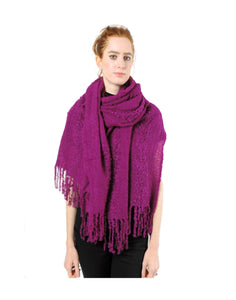 Hand-woven Baby Alpaca Boucle Fantasia Shawl - Magenta - Qinti - The Peruvian Shop