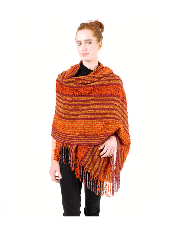 Hand-woven Baby Alpaca Boucle Fantasia Shawl - Orange Burgundy - Qinti - The Peruvian Shop