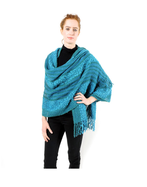 Hand-woven Baby Alpaca Boucle Fantasia Shawl - Teal - Qinti - The Peruvian Shop