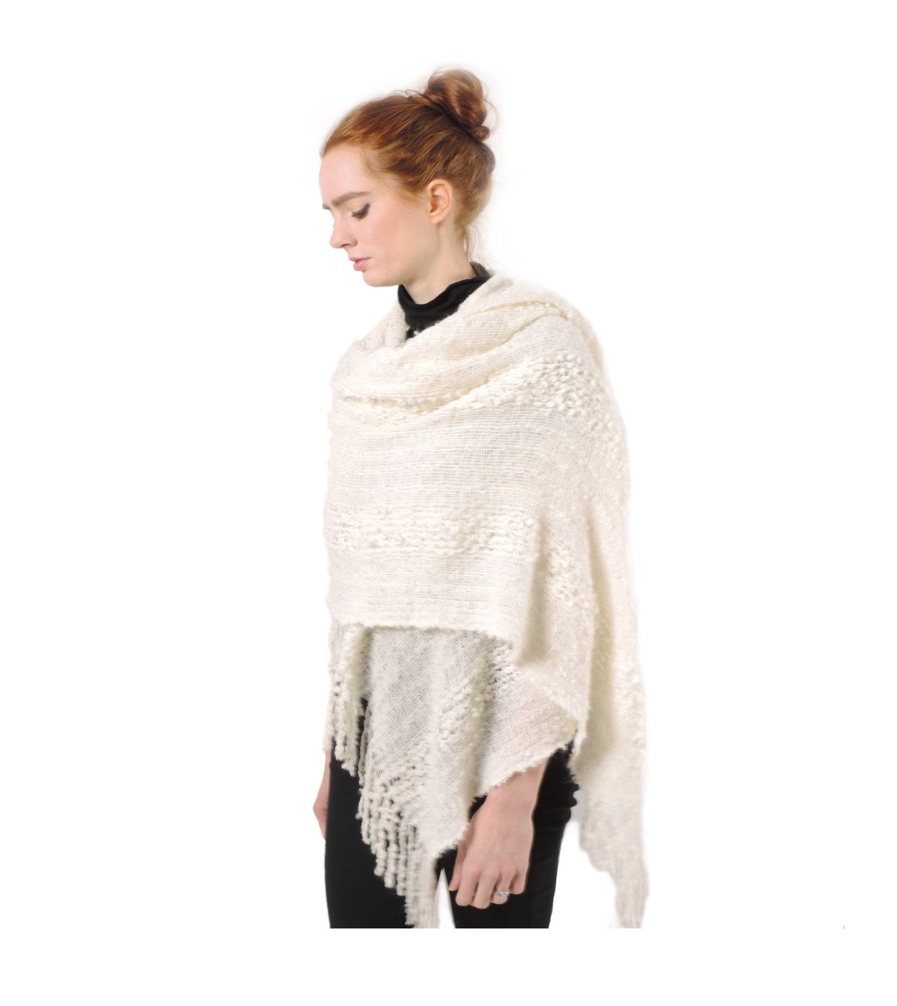 Hand-woven Baby Alpaca Boucle Fantasia Shawl - White - Qinti - The Peruvian Shop