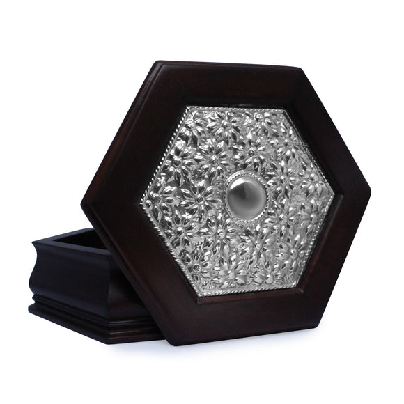 Hexagonal Keepsake Box with Sterling Silver Daisies , Mahogany & Silver Keepsake Boxes - ARTISANS ON MAIN STREET, {Artisan_Silver_Gifts} - 1