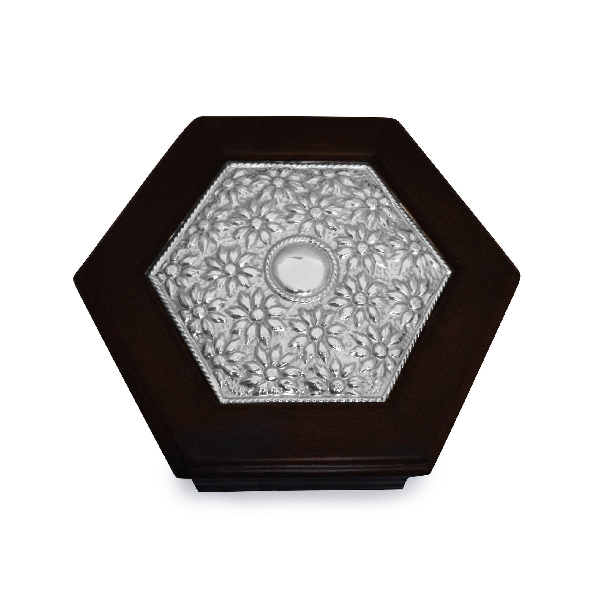 Hexagonal Keepsake Box with Sterling Silver Daisies - Qinti - The Peruvian Shop