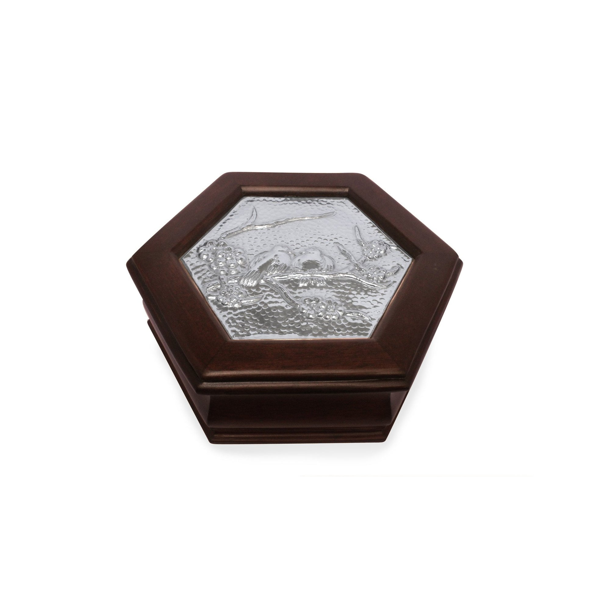 Hexagonal Keepsake Box with Sterling Silver Love Doves - Qinti - The Peruvian Shop