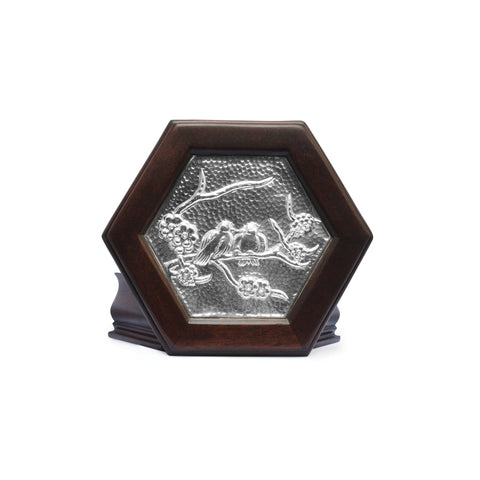 Hexagonal Keepsake Box with Sterling Silver Love Doves , Mahogany & Silver Keepsake Boxes - ARTISANS ON MAIN STREET, {Artisan_Silver_Gifts} - 1