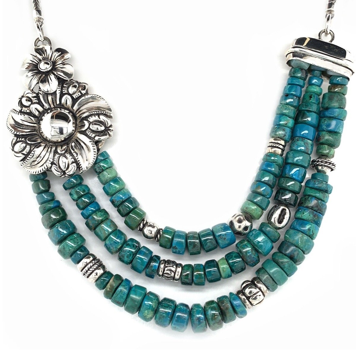 Chrysocolla Beads and Coralina Flower Sterling Silver Necklace - Qinti - The Peruvian Shop
