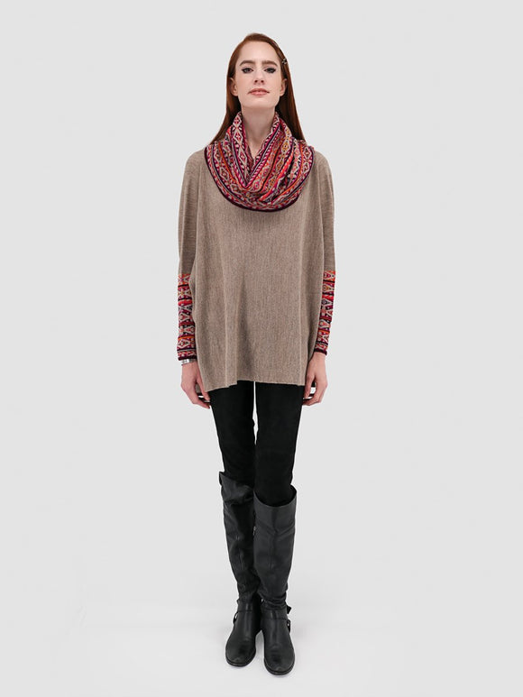 Cowl Neck Poncho with Sleeves