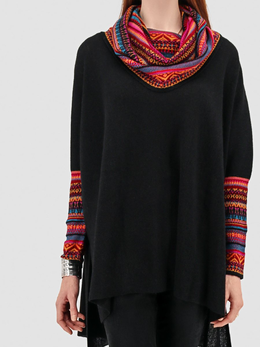 Women's Sweater Poncho with Sleeves - Black and Multi-Color - Qinti - The Peruvian Shop