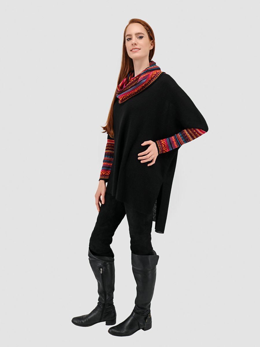 Cowl Neck Poncho with Sleeves - Qinti - The Peruvian Shop