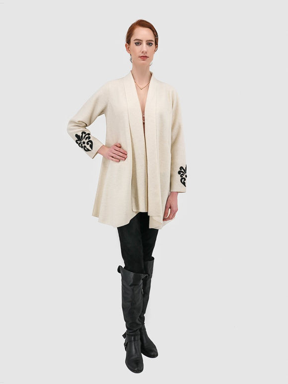 Rococo Open Coat with Shawl Collar & Applique - 60% Baby Alpaca 40% Wool
