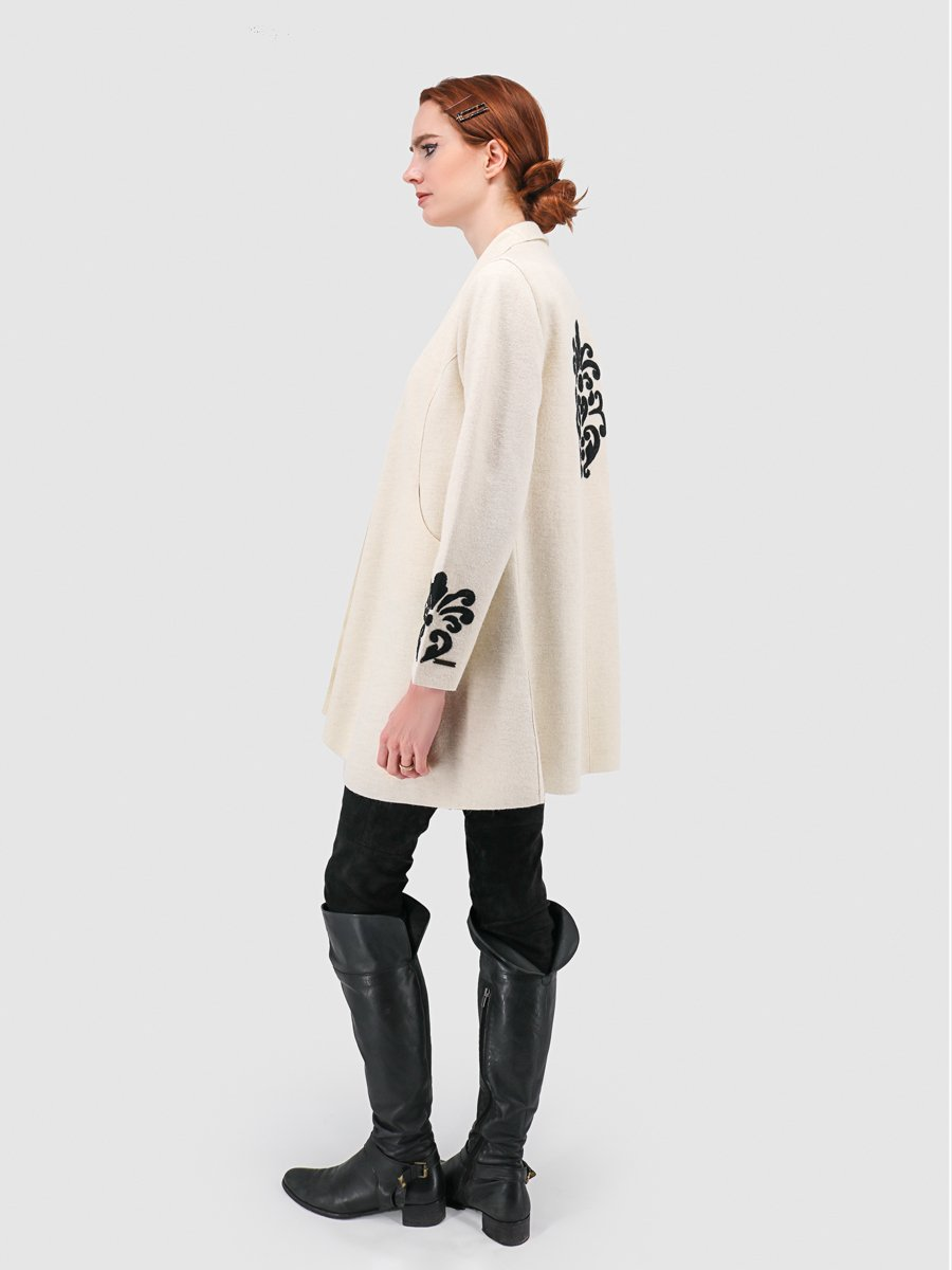 Rococo Open Coat with Shawl Collar & Applique - 60% Baby Alpaca 40% Wool - Qinti - The Peruvian Shop