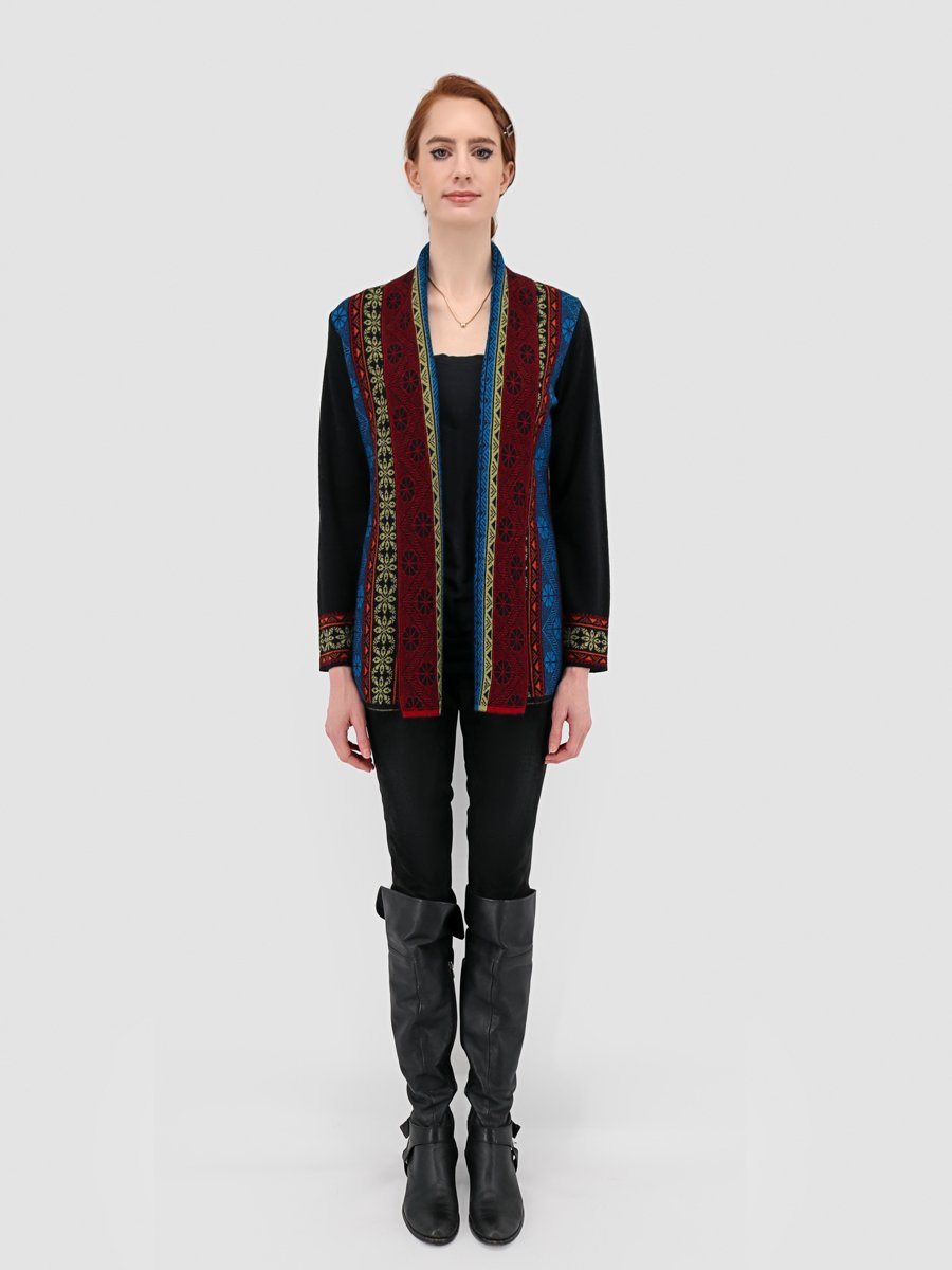 Women's Baby Alpaca Cardigan in Black w Peruvian Pattern - Qinti - The Peruvian Shop