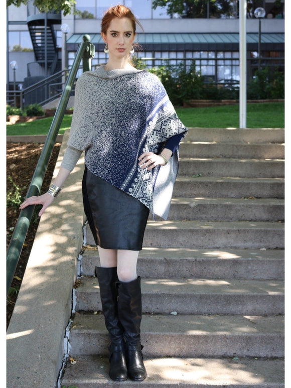 womens poncho with sleeves - Midnight Blue