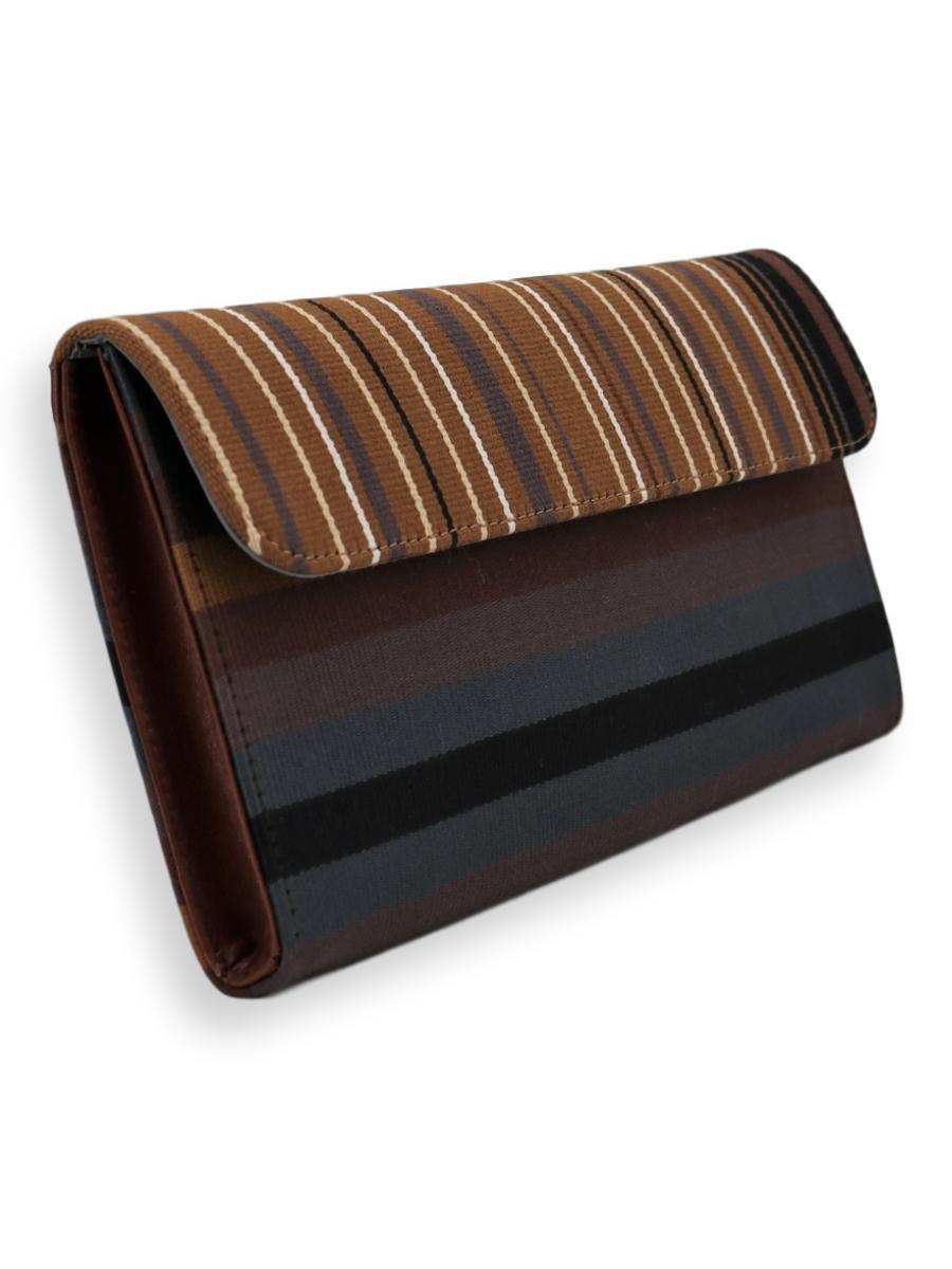 Large Clutch Bag - pecan/black/white | bottom and back Pewter/brown/gold - Qinti - The Peruvian Shop