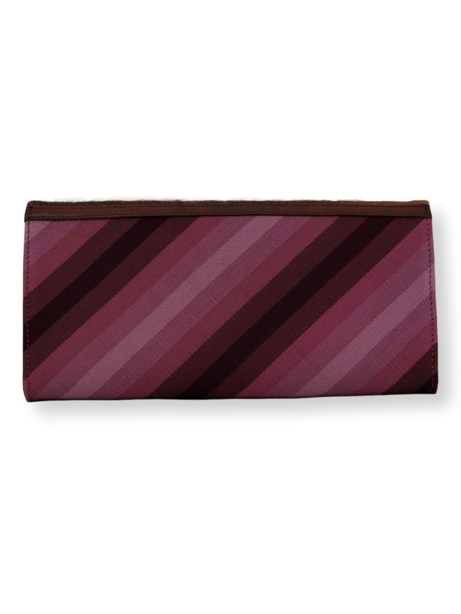 Large Clutch Bag - Purple stripes with cowhide - Qinti - The Peruvian Shop