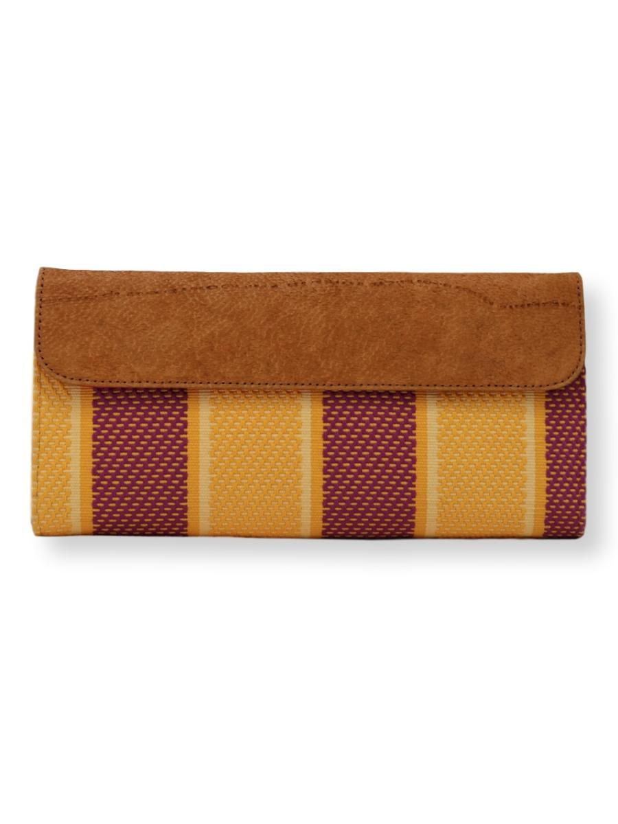 Large Clutch Bag - yellow/crimson with FISH leather - Qinti - The Peruvian Shop