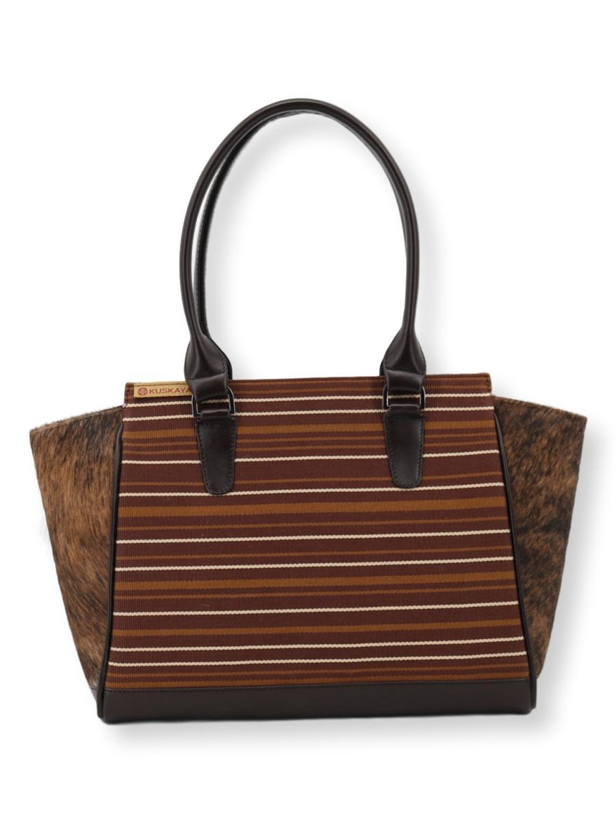 Amanda Grande Handbag with Cowhide in Browns - Qinti - The Peruvian Shop
