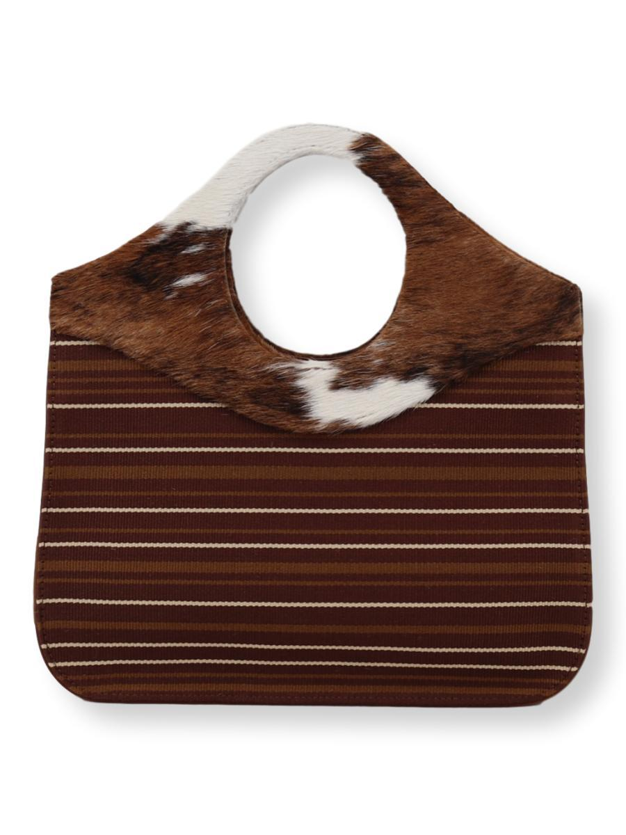 O-Handle Cowhide Handbag in brown/caramel/white - Qinti - The Peruvian Shop