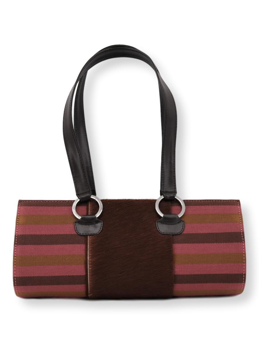 Tubo Handbag with Cowhide in Brown/ Caramel/ Dusty Rose - Qinti - The Peruvian Shop