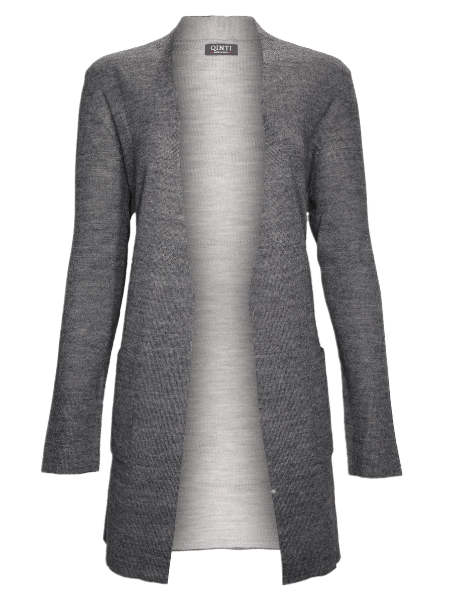 Open Front Cardigan Sweater - Reversible - Light Gray/ Dark Gray - Qinti - The Peruvian Shop