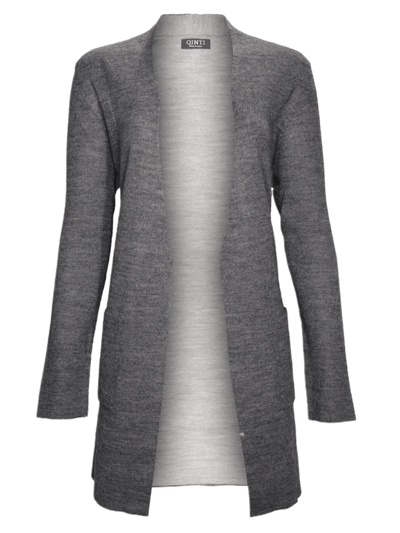 Open Front Cardigan - Long Sleeve - Reversible - Light Gray/ Dark Gray