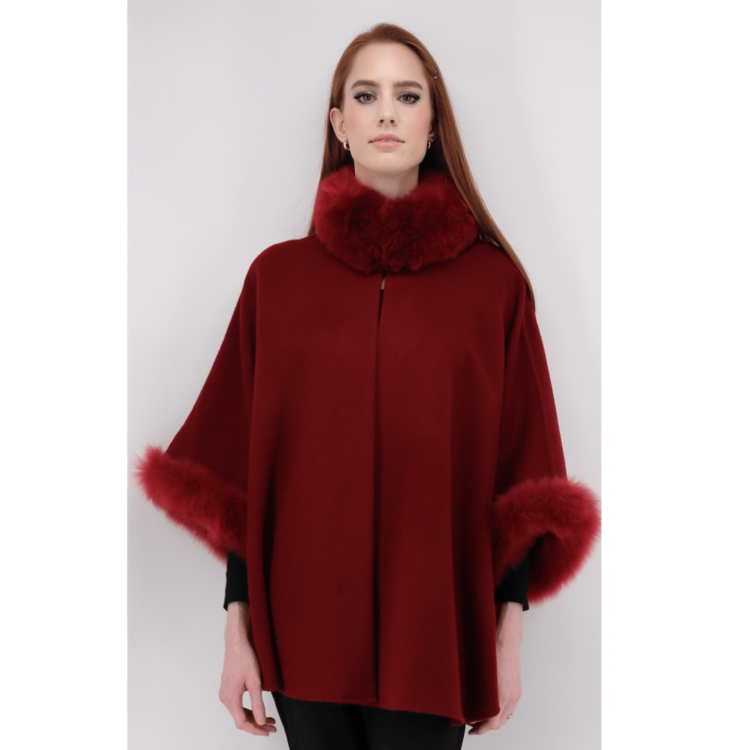 Baby Alpaca Cape with Fur Collar & Sleeves - Long - Qinti - The Peruvian Shop