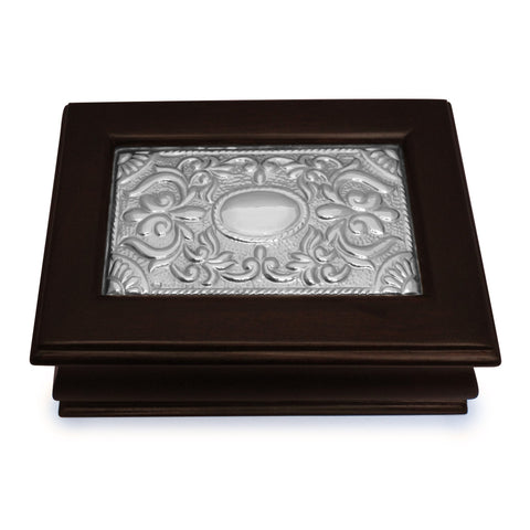 Keepsake Box – Sterling Silver Décor - Medium , Mahogany & Silver Keepsake Boxes - ARTISANS ON MAIN STREET, {Artisan_Silver_Gifts} - 1