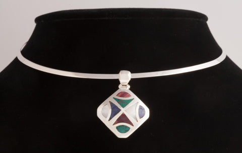 Sterling Silver & Multi-Stones Geometric Pendant , Jewelry Pendants  - ARTISANS ON MAIN STREET, {Artisan_Silver_Gifts}