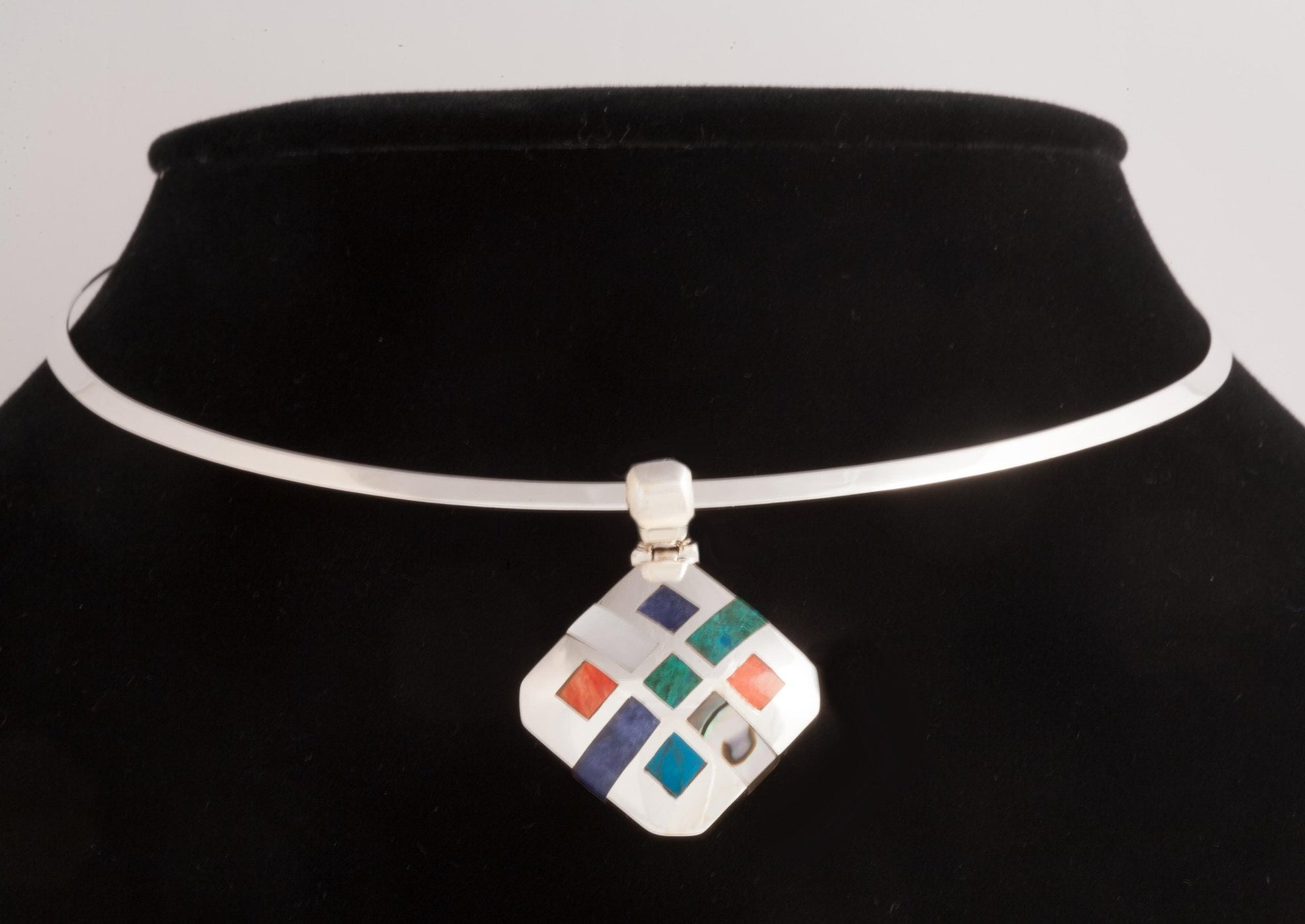 Sterling Silver & Multi-Stones Contemporary Pendant - Qinti - The Peruvian Shop