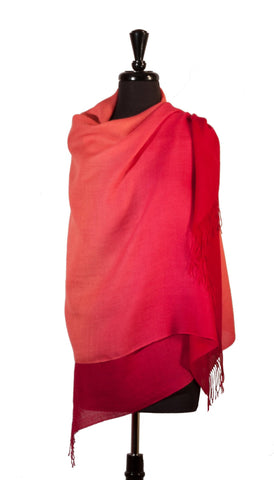 Shawl Baby Alpaca & Silk in Two-Tone Degrade - Coral , Baby Alpaca Shawls - ARTISANS ON MAIN STREET, {Artisan_Silver_Gifts} - 1