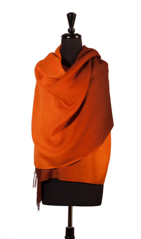 Shawl Baby Alpaca & Silk in Two-Tone Degrade - Orange , Baby Alpaca Shawls - ARTISANS ON MAIN STREET, {Artisan_Silver_Gifts} - 1