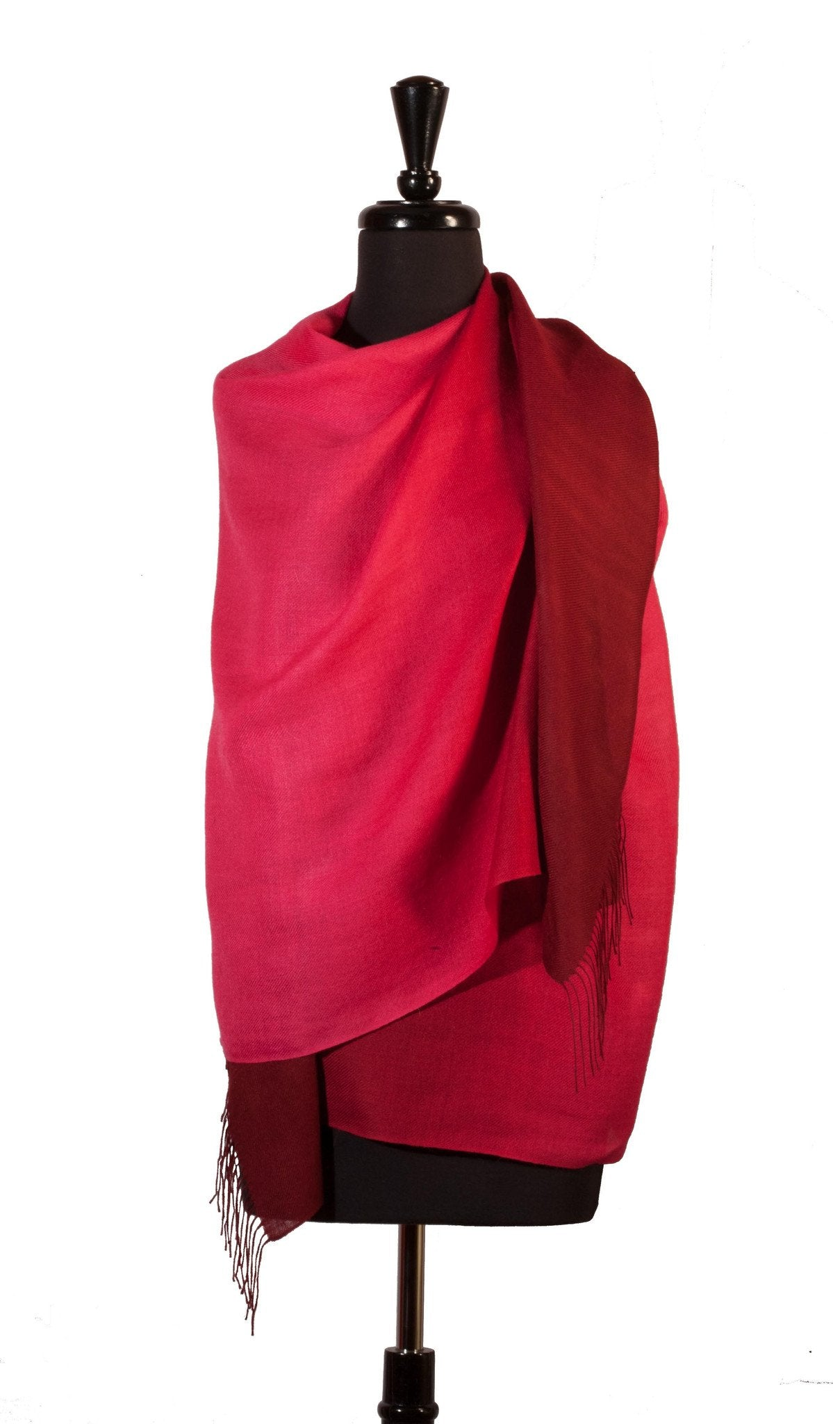 Shawl Baby Alpaca & Silk in Two-Tone Degrade - Deep Pink - Qinti - The Peruvian Shop