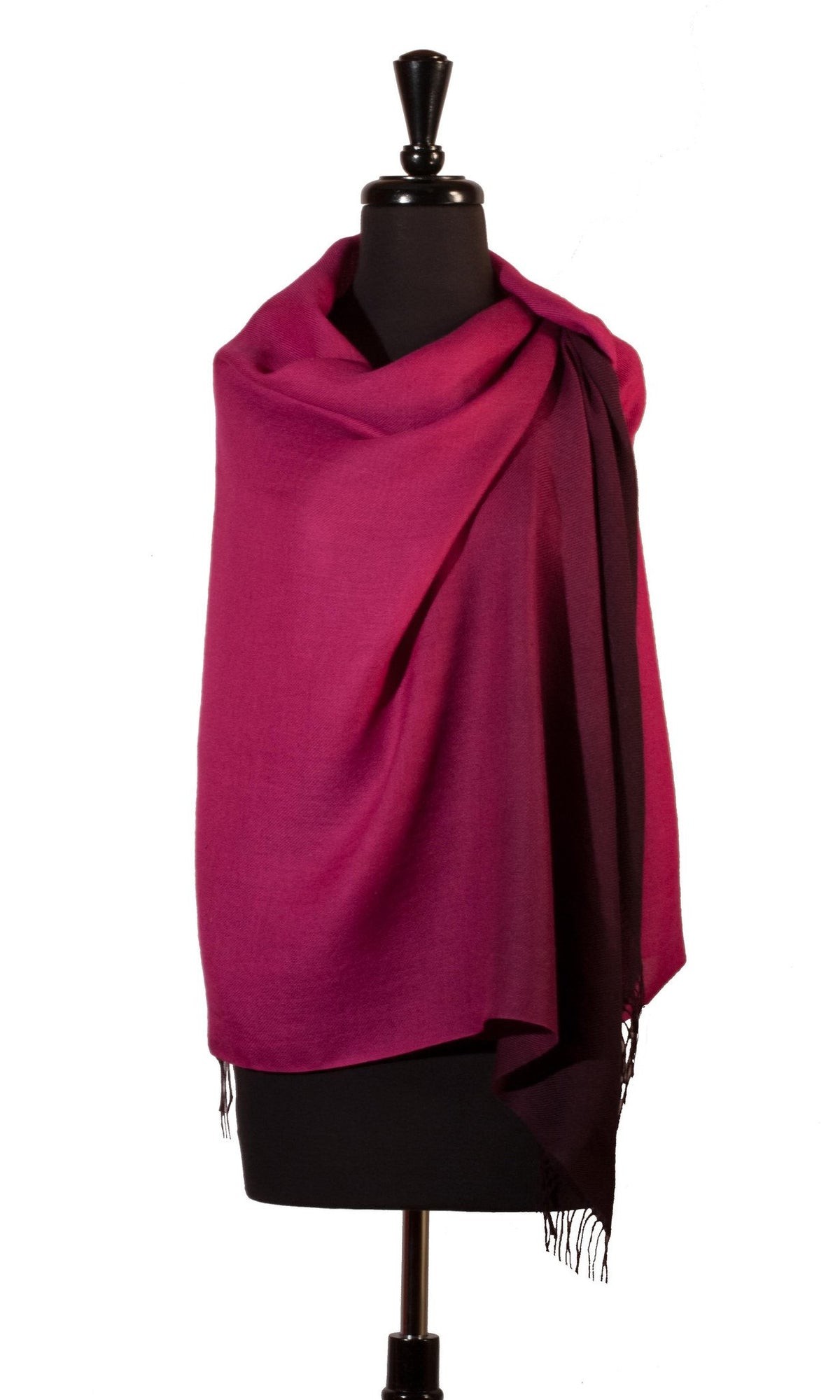 Shawl Baby Alpaca & Silk in Two-Tone Degrade - Magenta - Qinti - The Peruvian Shop