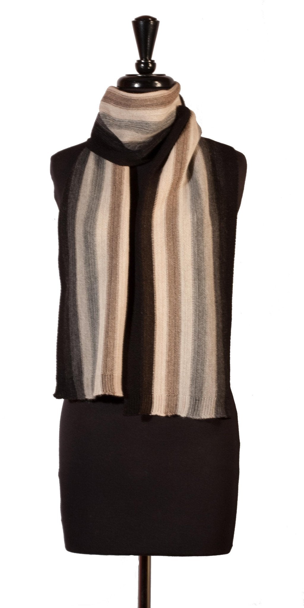 Baby Alpaca Scarf for Men - Charcoal, Grays & Cream - Qinti - The Peruvian Shop