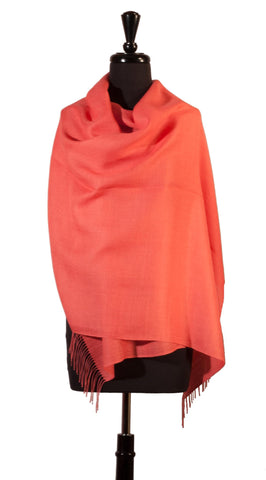 Baby Alpaca & Silk Shawl in Solid Color - Coral , Baby Alpaca Shawls - ARTISANS ON MAIN STREET, {Artisan_Silver_Gifts}