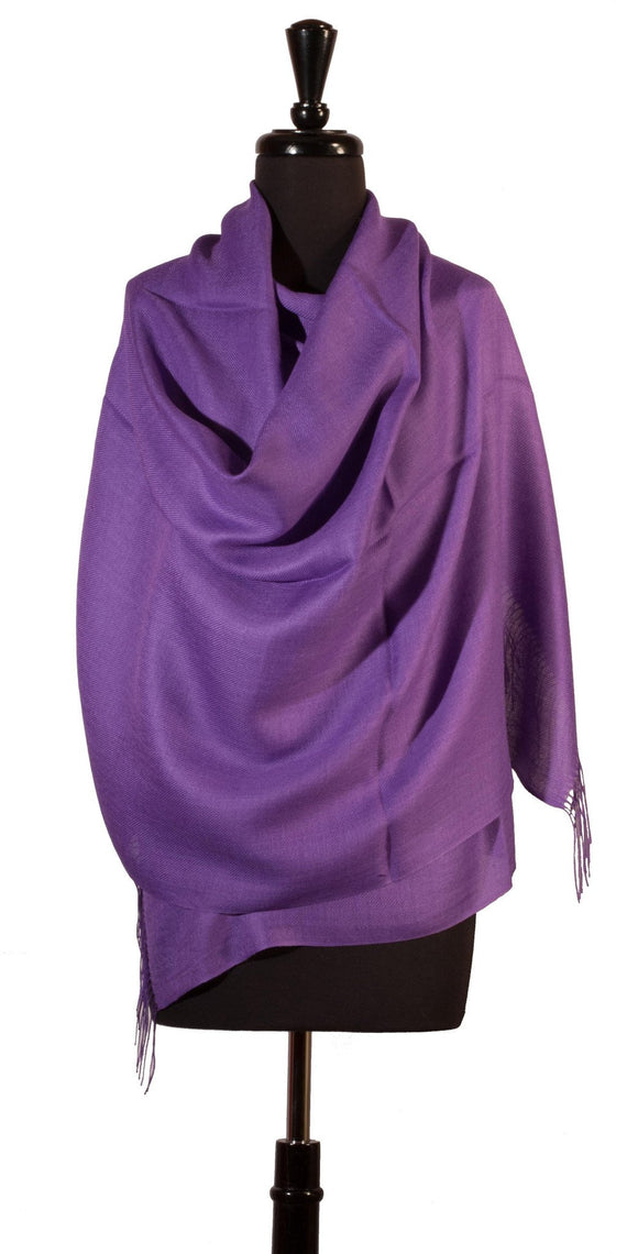 Baby Alpaca & Silk Shawl in Solid Color - Amethyst Purple - Qinti - The Peruvian Shop