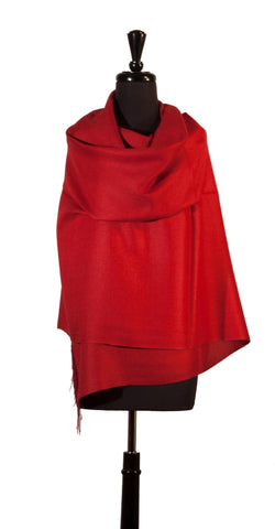 Baby Alpaca & Silk Shawl in Solid Color - Crimson Red , Baby Alpaca Shawls - ARTISANS ON MAIN STREET, {Artisan_Silver_Gifts}