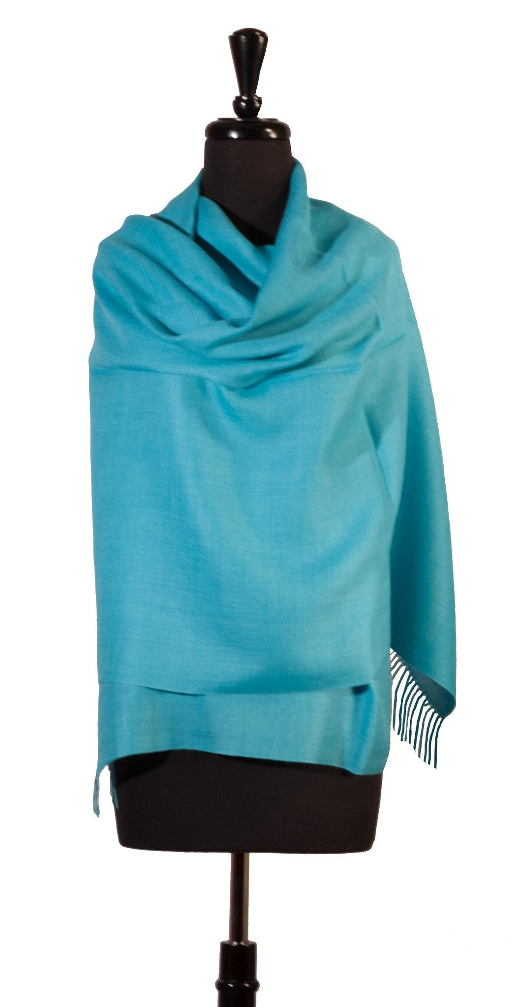 Baby Alpaca & Silk Shawl in Solid Color - Aquamarine - Qinti - The Peruvian Shop