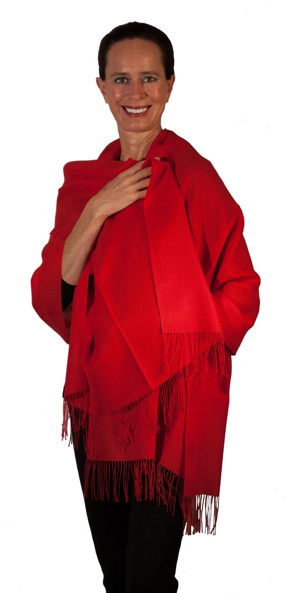Baby Alpaca & Silk Shawl in Solid Color - Red - Qinti - The Peruvian Shop