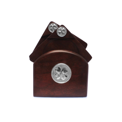 Mahogany Coasters with Sterling Silver CLOVER Applique , Mahogany Coasters  - ARTISANS ON MAIN STREET, {Artisan_Silver_Gifts} - 1