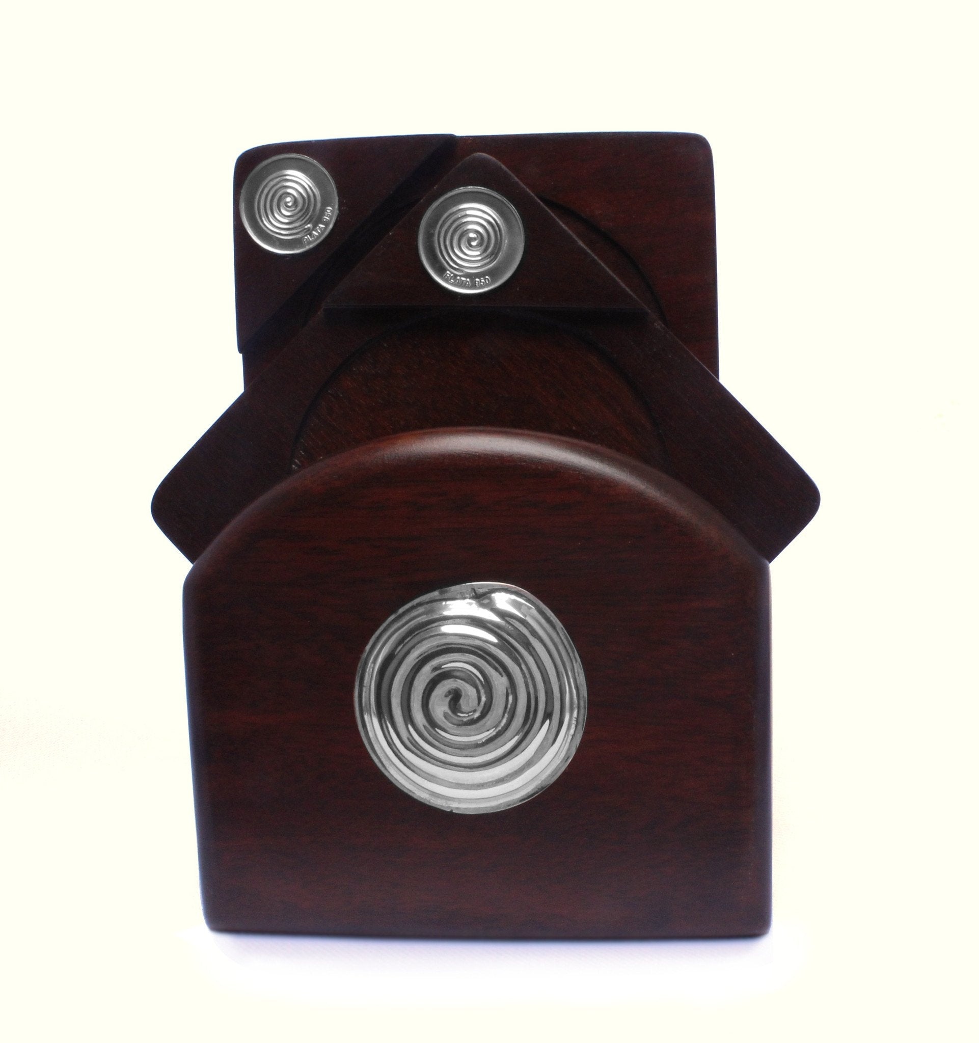 Mahogany Coasters with Sterling Silver SPIRAL Applique - Qinti - The Peruvian Shop