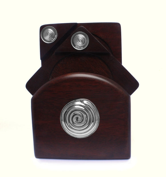 Mahogany Coasters with Sterling Silver SPIRAL Applique , Mahogany Coasters  - ARTISANS ON MAIN STREET, {Artisan_Silver_Gifts} - 1