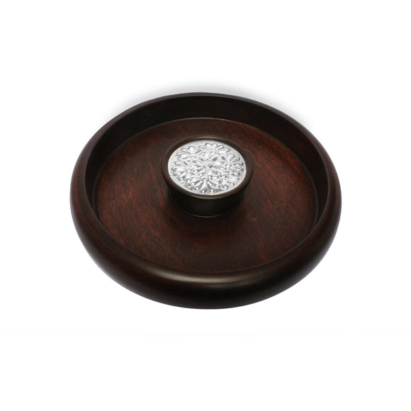 Mahogany Snack Bowl with Sterling Silver Daisies Accent , MAHOGANY BOWLS & SERVERS - ARTISANS ON MAIN STREET, {Artisan_Silver_Gifts} - 1