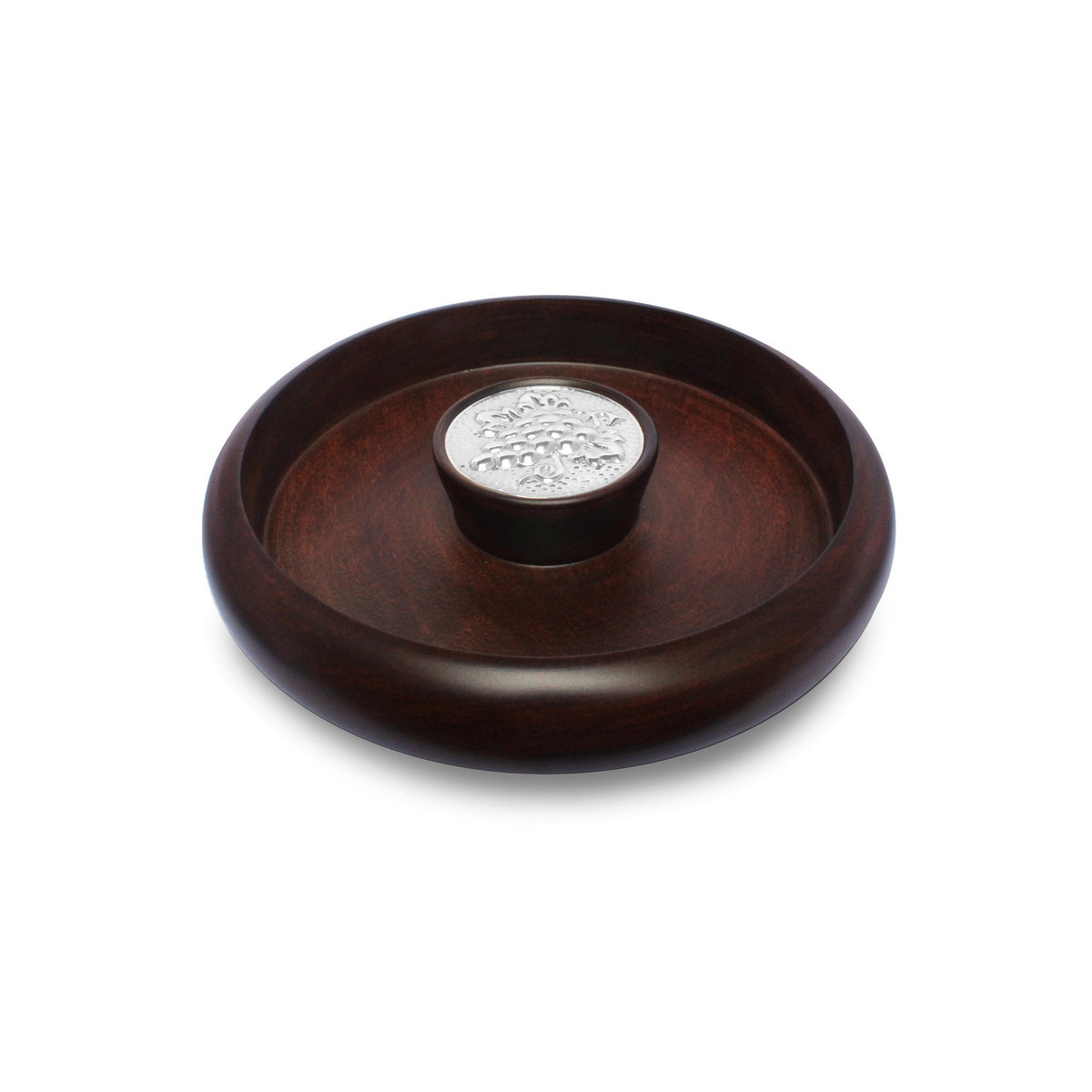 Mahogany Snack Bowl with Sterling Silver Grapes Accent - Qinti - The Peruvian Shop