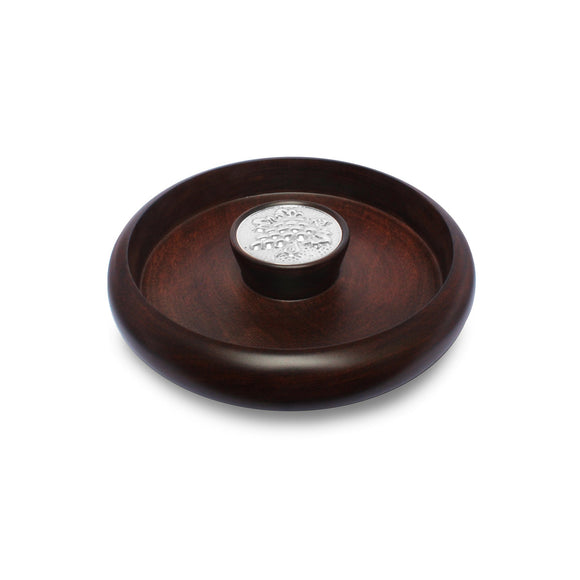Mahogany Snack Bowl with Sterling Silver Grapes Accent , MAHOGANY BOWLS & SERVERS - ARTISANS ON MAIN STREET, {Artisan_Silver_Gifts} - 1