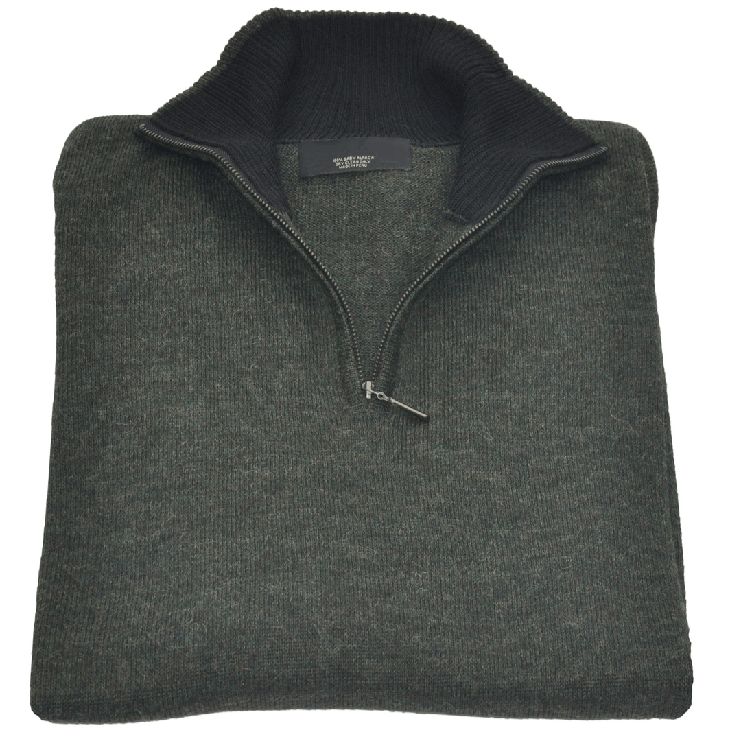 Men's Baby Alpaca Half Zip Sweater - Green Melange - Qinti - The Peruvian Shop