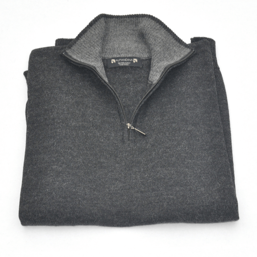 Men's Baby Alpaca Half Zip Sweater - Charcoal - Qinti - The Peruvian Shop