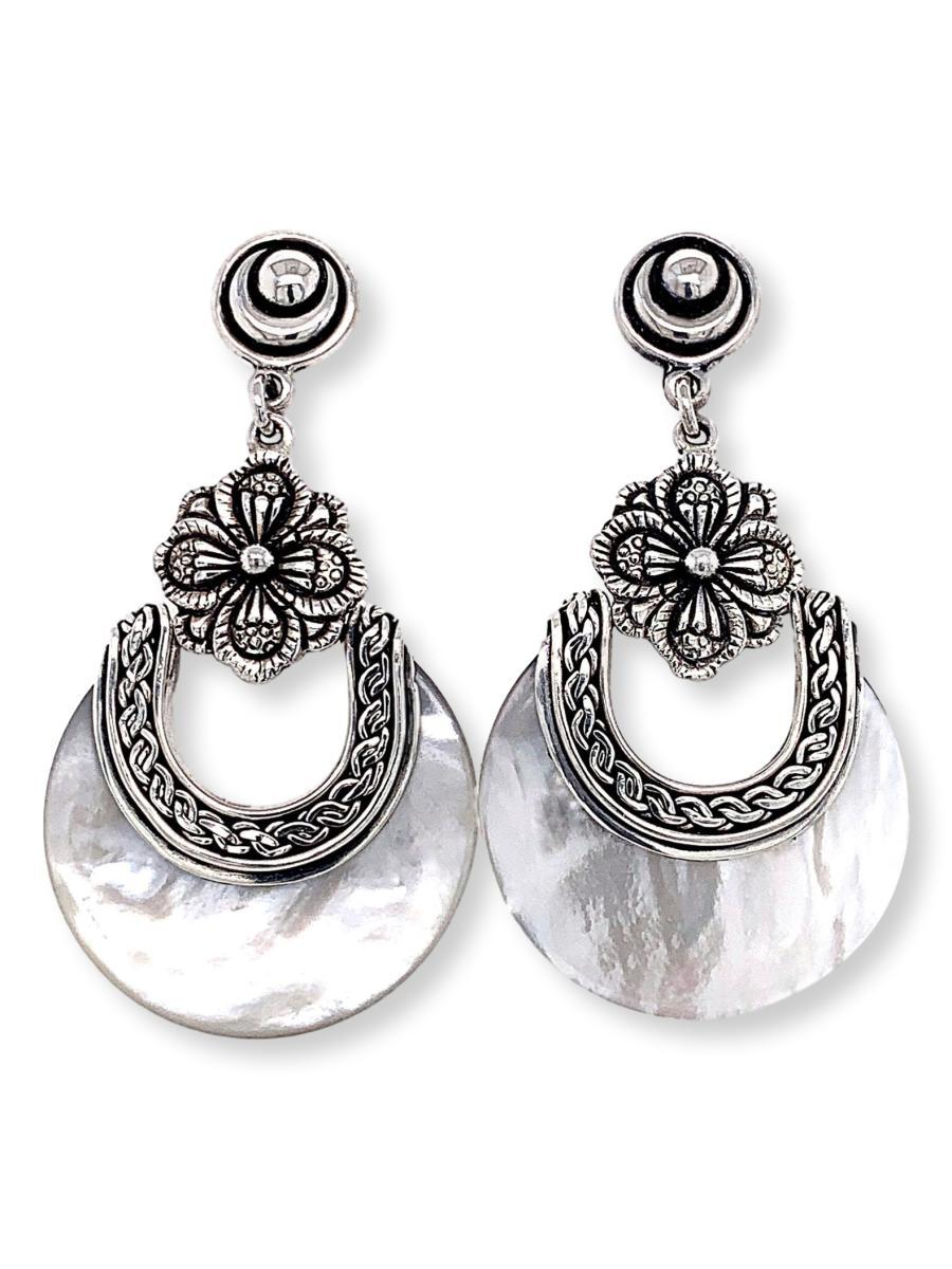 Crescent Moon Mother-of-Pearl Earrings - Qinti - The Peruvian Shop