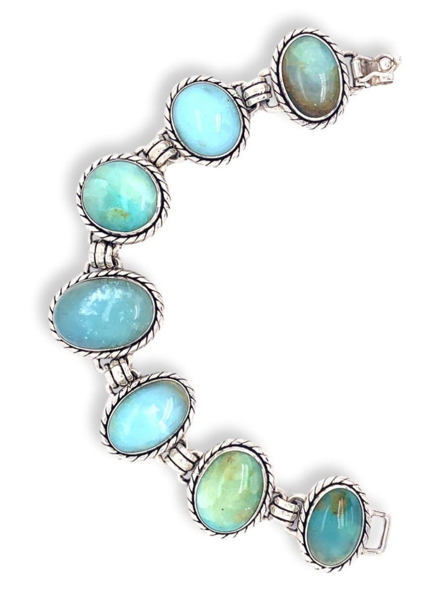 Peruvian Opal Oval Links Bracelet in Sterling Silver